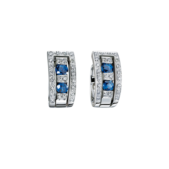 BELLE ÉPOQUE WHITE GOLD, DIAMOND AND SAPPHIRE EARRINGS
