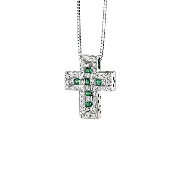 BELLE ÉPOQUE WHITE GOLD, DIAMOND AND EMERALD CROSS NECKLACE