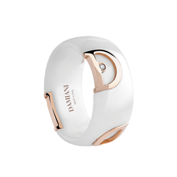 D.ICON WHITE CERAMIC, PINK GOLD AND DIAMOND RING