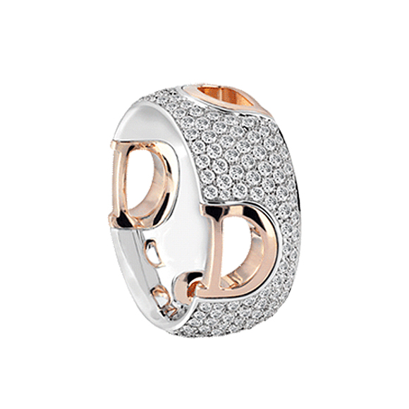 D.ICON WHITE/PINK GOLD AND DIAMOND RING