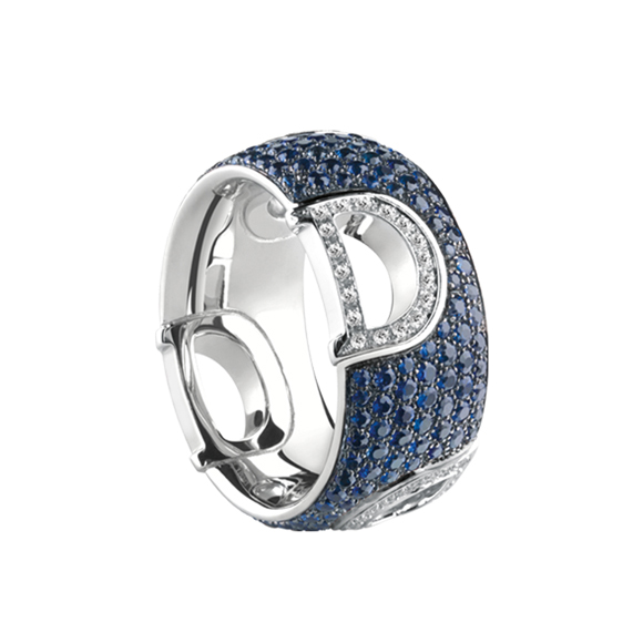 D.ICON WHITE GOLD RING WITH DIAMONDS AND SAPPHIRES