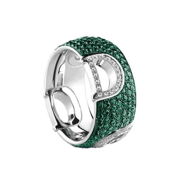 D.ICON WHITE GOLD RING WITH DIAMONDS AND EMERALDS