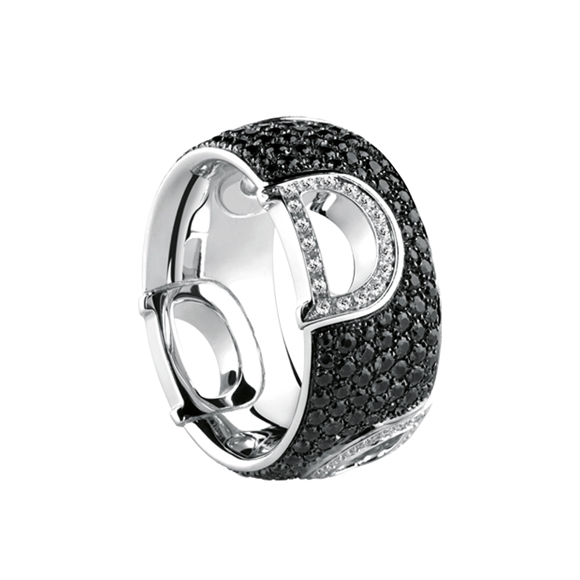 D.ICON WHITE GOLD RING WITH WHITE AND BLACK DIAMONDS