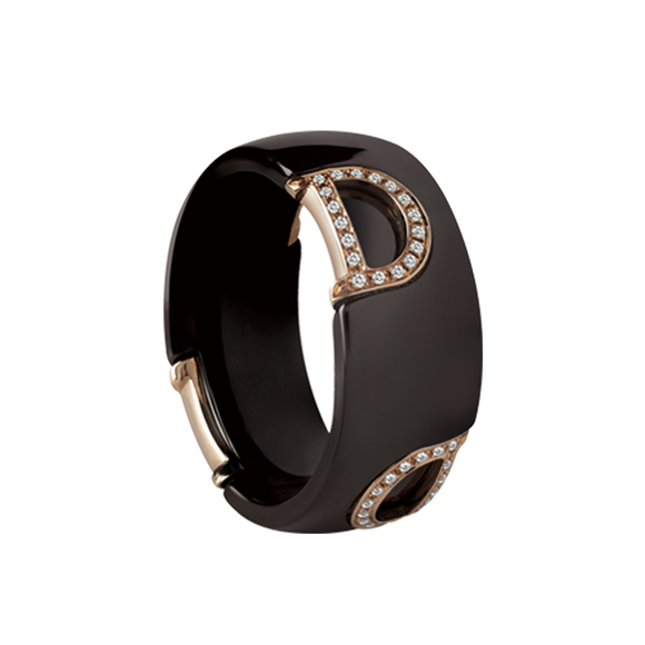 D.ICON BROWN CERAMIC, PINK GOLD AND DIAMOND RING