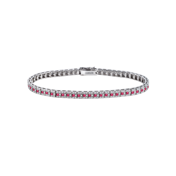 BELLE ÉPOQUE WHITE GOLD BRACELET WITH DIAMONDS AND RUBIES