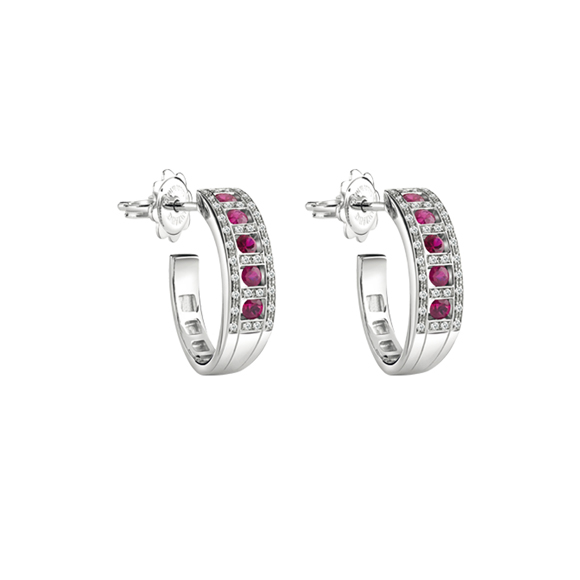 BELLE ÉPOQUE WHITE GOLD, DIAMONDS AND RUBIES EARRINGS