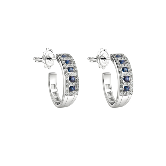 BELLE ÉPOQUE WHITE GOLD, DIAMONDS AND SAPPHIRES EARRINGS