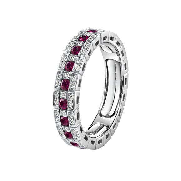 BELLE ÉPOQUE WHITE GOLD, DIAMONDS AND RUBIES ETERNAL COMFORT RING
