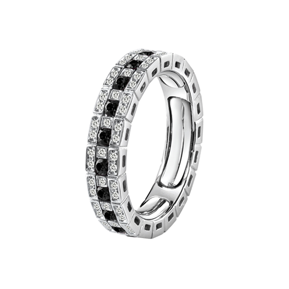BELLE ÉPOQUE WHITE GOLD AND BLACK DIAMONDS ETERNAL COMFORT RING