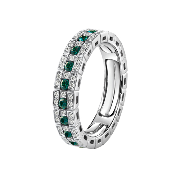 BELLE ÉPOQUE WHITE GOLD, DIAMONDS AND EMERALDS ETERNAL COMFORT RING