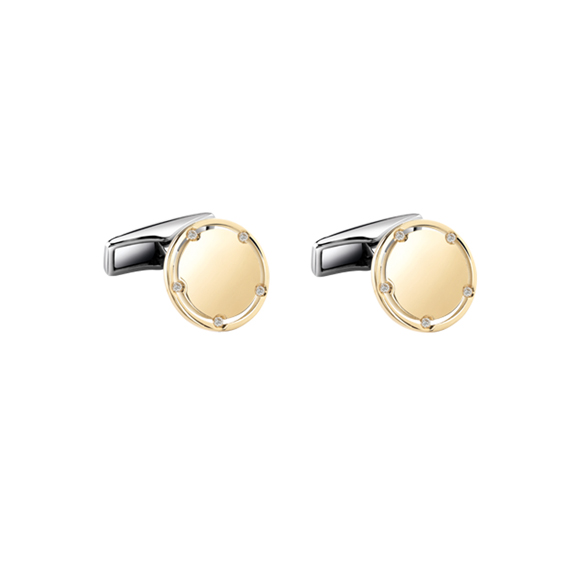 D.SIDE YELLOW GOLD AND DIAMONDS CUFFLINKS
