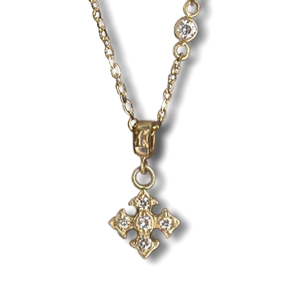 PETITE FANCY PRINCESS CROSS NECKLACE