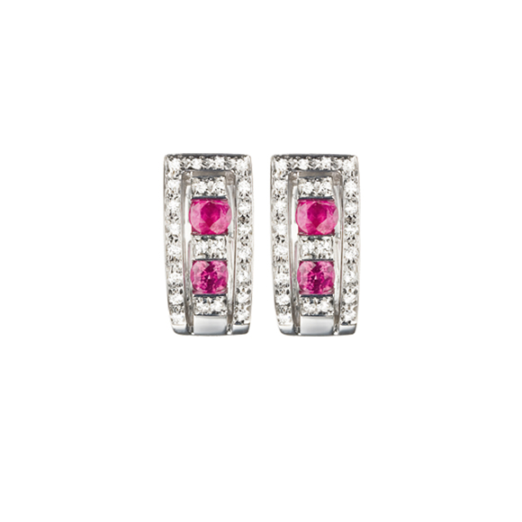 BELLE ÉPOQUE WHITE GOLD, DIAMOND AND RUBY EARRINGS