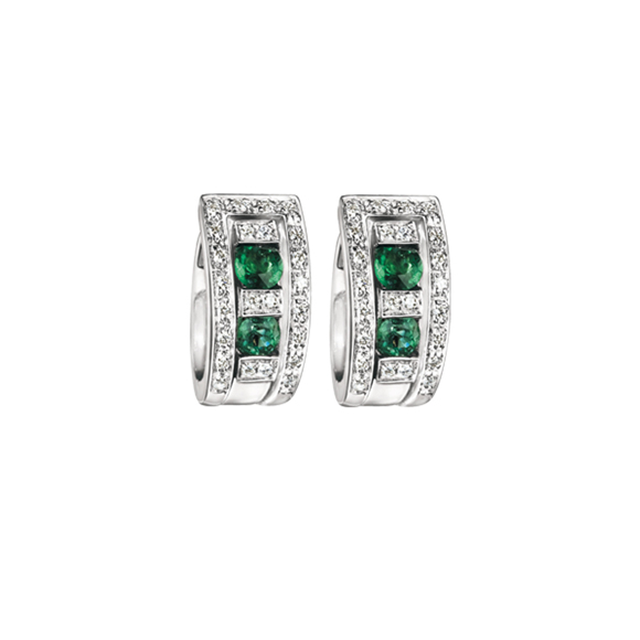 BELLE ÉPOQUE WHITE GOLD, DIAMOND AND EMERALD EARRINGS