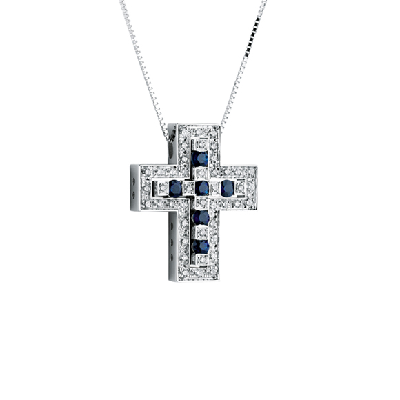 BELLE ÉPOQUE WHITE GOLD, DIAMONDS AND SAPPHIRES NECKLACE