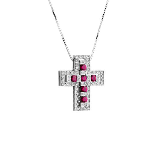 BELLE ÉPOQUE WHITE GOLD, DIAMONDS AND RUBIES NECKLACE