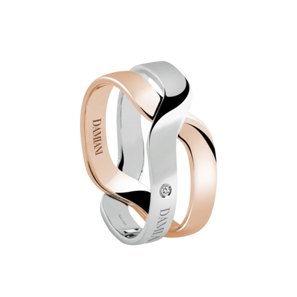 BACI WHITE AND PINK GOLD RING
