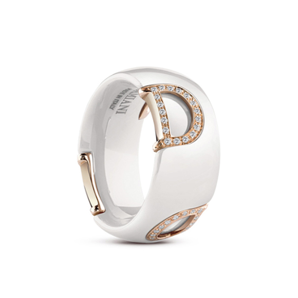 D.icon White ceramic, pink gold and diamonds ring