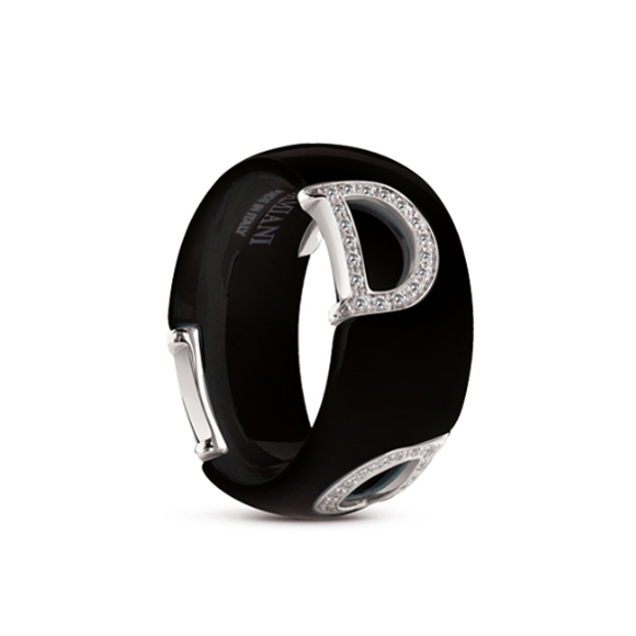 D.icon Black ceramic, white gold and diamonds ring