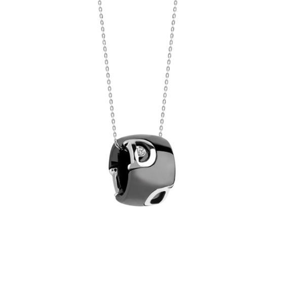D.icon Black ceramic, white gold and diamond necklace