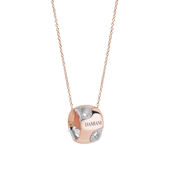 D.ICON WHITE/PINK GOLD AND DIAMOND NECKLACE