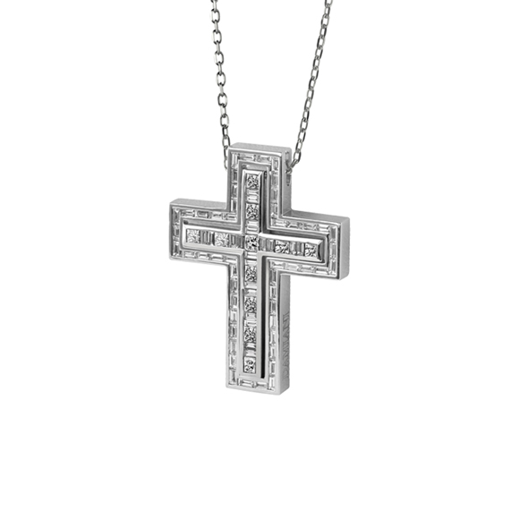 BELLE ÉPOQUE WHITE GOLD AND DIAMOND CROSS NECKLACE