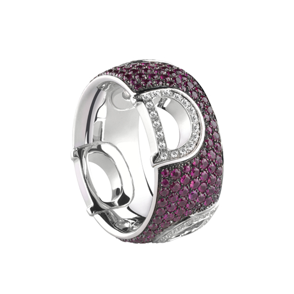 D.ICON WHITE GOLD RING WITH DIAMONDS AND RUBIES