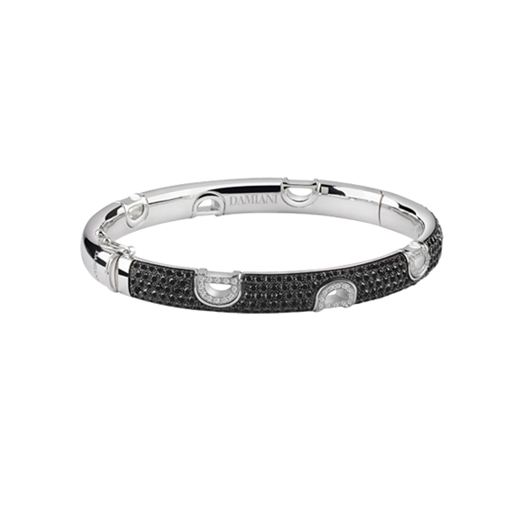 D.ICON WHITE GOLD BRACELET WITH WHITE AND BLACK DIAMONDS
