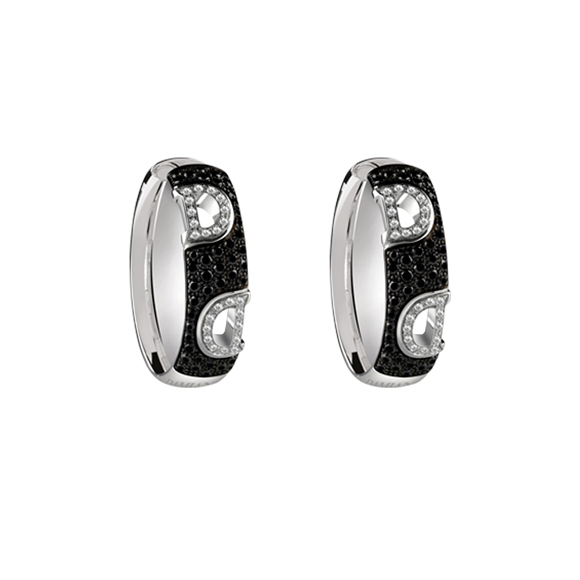 D.ICON WHITE GOLD EARRINGS WITH WHITE AND BLACK DIAMONDS