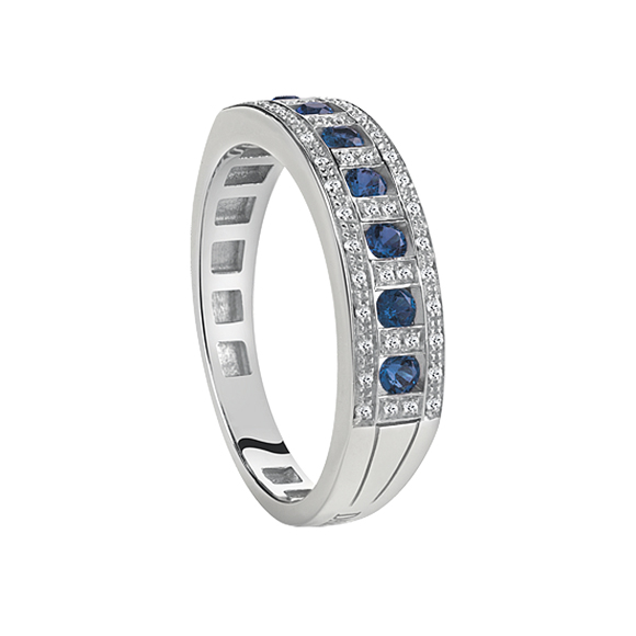 BELLE ÉPOQUE WHITE GOLD, DIAMOND AND SAPPHIRE RING