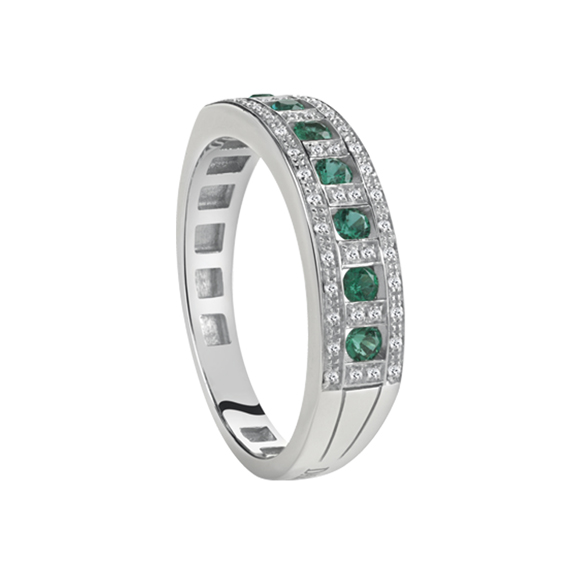 BELLE ÉPOQUE WHITE GOLD, DIAMOND AND EMERALD RING