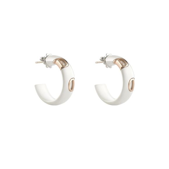 D.ICON WHITE CERAMIC, PINK GOLD AND DIAMOND EARRINGS