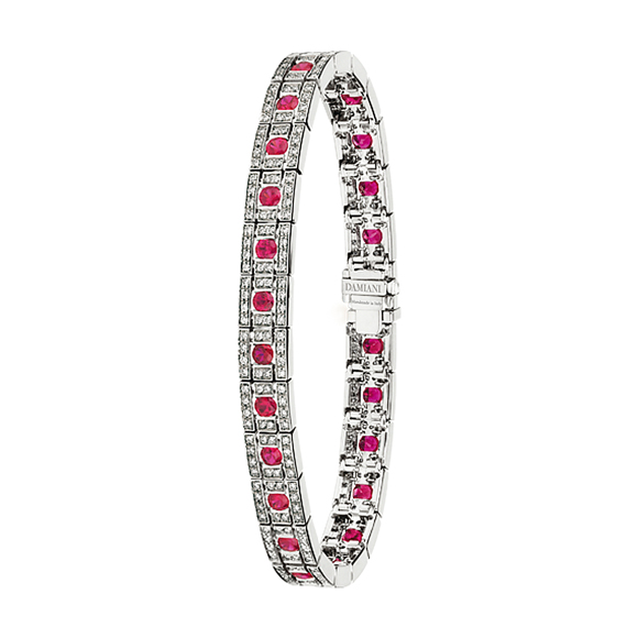 BELLE ÉPOQUE WHITE GOLD, DIAMOND AND RUBY BRACELET
