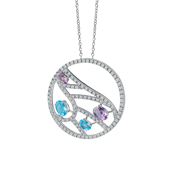 BATTITO D'ALI WHITE GOLD NECKLACE WITH DIAMONDS, TOPAZES AND AMETHYSTS