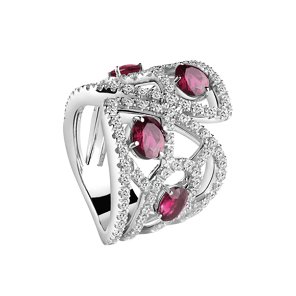 BATTITO D'ALI WHITE GOLD RING WITH DIAMONDS AND RUBIES