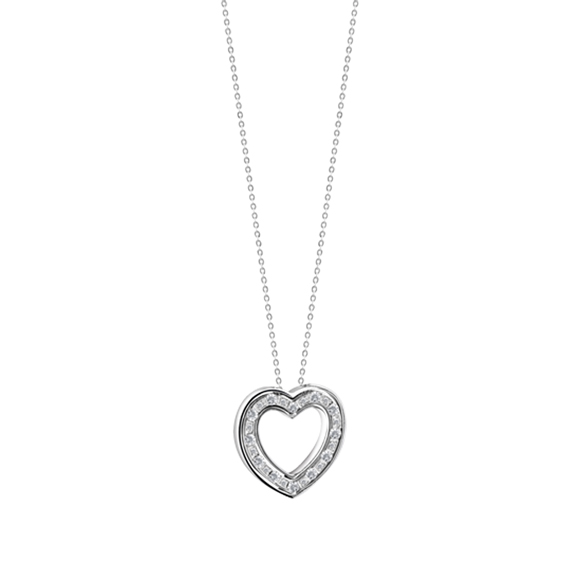 BELLE ÉPOQUE WHITE GOLD AND DIAMONDS HEART NECKLACE