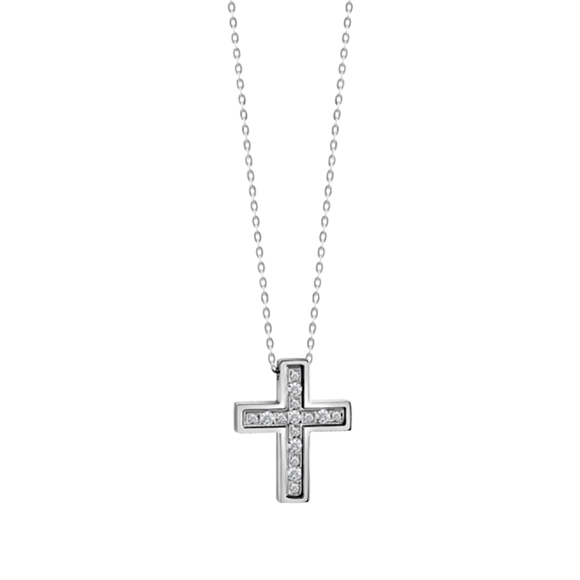 BELLE ÉPOQUE WHITE GOLD AND DIAMONDS CROSS NECKLACE