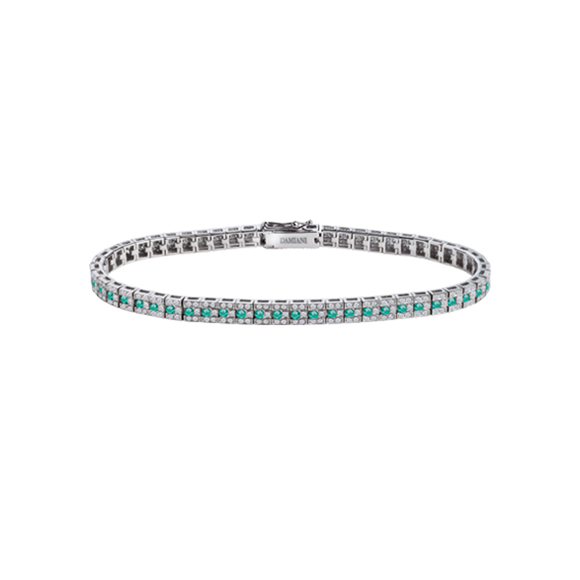 BELLE ÉPOQUE WHITE GOLD BRACELET WITH DIAMONDS AND EMERALDS