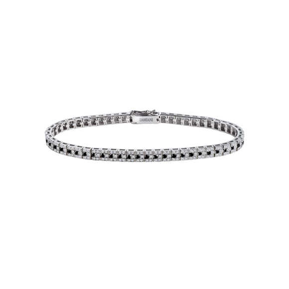 BELLE ÉPOQUE WHITE GOLD BRACELET WITH WHITE AND BLACK DIAMONDS