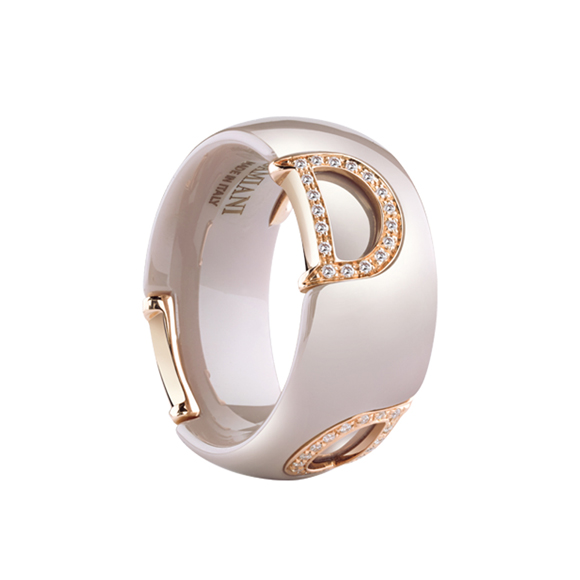 D.ICON CAPPUCCINO CERAMIC, PINK GOLD AND DIAMONDS RING