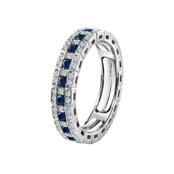 BELLE ÉPOQUE WHITE GOLD, DIAMONDS AND SAPPHIRES ETERNAL COMFORT RING