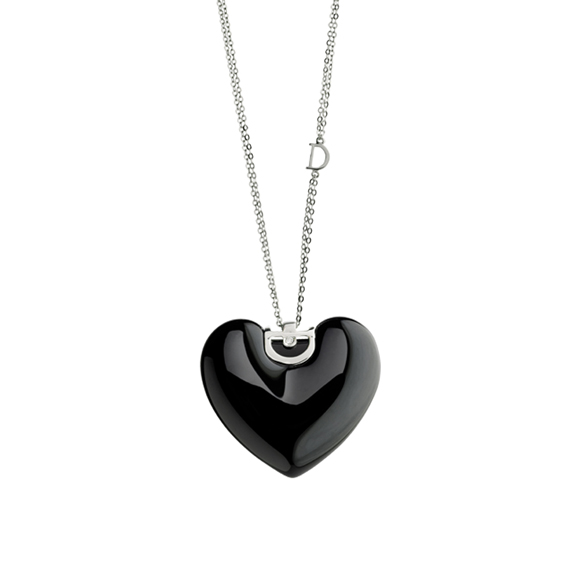 D.ICON BLACK CERAMIC, WHITE GOLD AND DIAMOND HEART NECKLACE