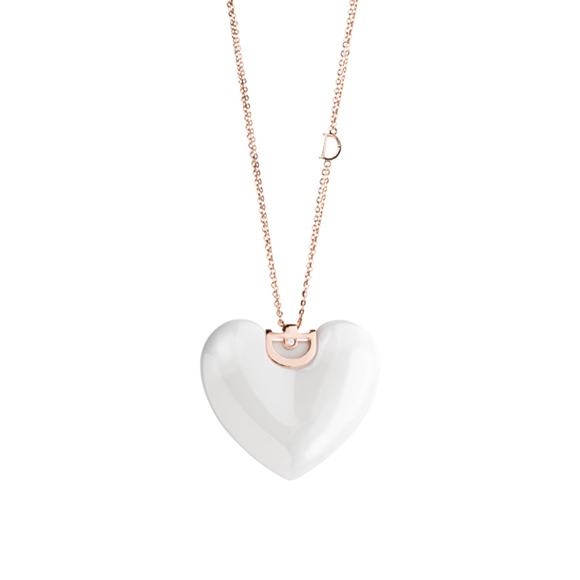 D.ICON WHITE CERAMIC, POSE GOLD AND DIAMOND HEART NECKLACE