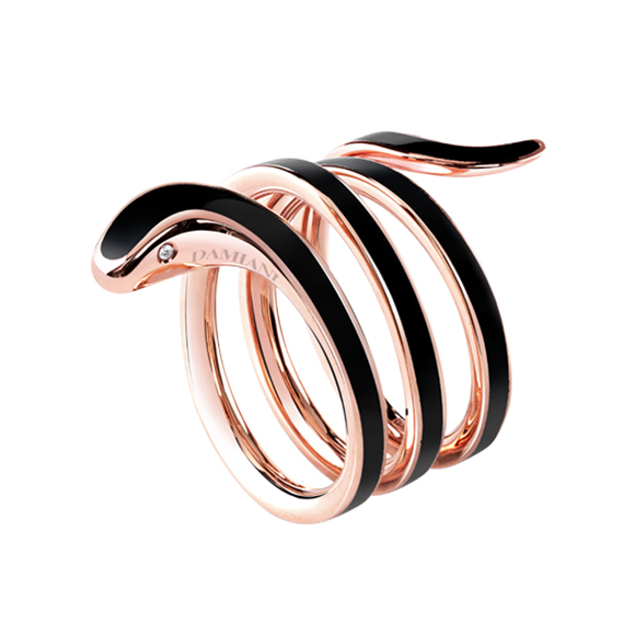 EDEN BLACK CERAMIC, PINK GOLD AND DIAMONDS RING