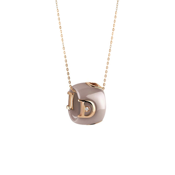 D.icon Cappuccino ceramic, pink gold and diamond necklace
