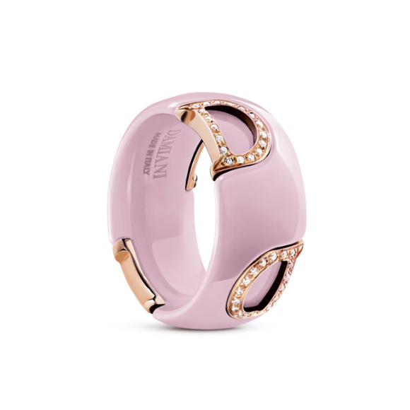 D.icon Candy pink ceramic, pink gold and diamonds ring