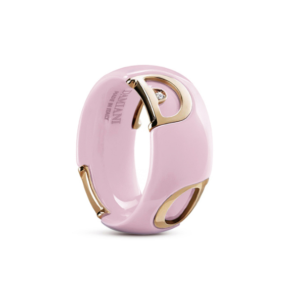 D.icon Candy pink ceramic, pink gold and diamond ring