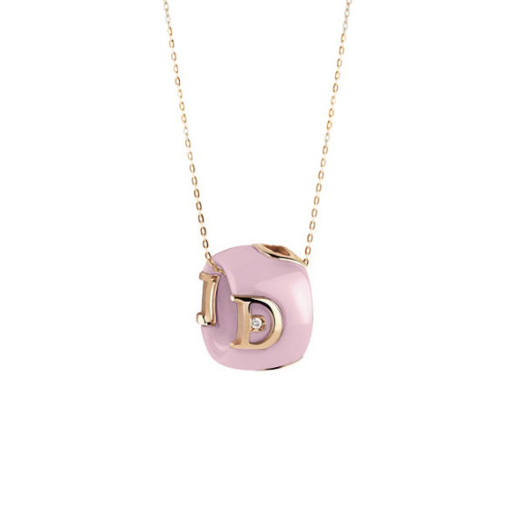 D.icon Candy pink ceramic, pink gold and diamond necklace