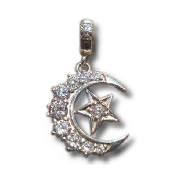 MEDIUM CRESCENT MOON/ STAR PENDANT
