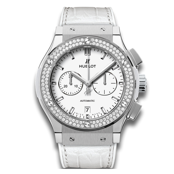 CLASSIC FUSION CHRONOGRAPH TITANIUM WHITE DIAMONDS